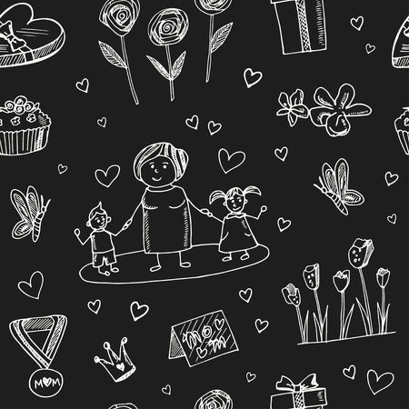 Mother day hand drawn doodle seamless pattern. Sketches. Vector illustration for design and packages product. Symbol collection. Vettoriali