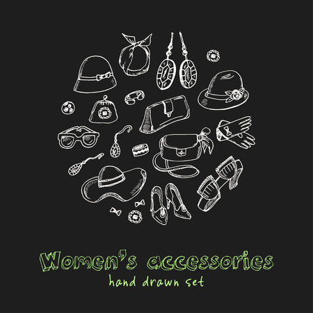 Womens accessories hand drawn doodle set. Sketches. Vector illustration for design and packages product. Symbol collection.