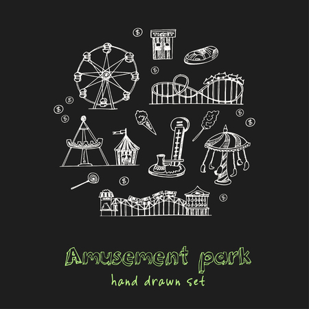 Amusement park hand drawn doodle set. Sketches. Vector illustration for design and packages product. Symbol collection. 일러스트