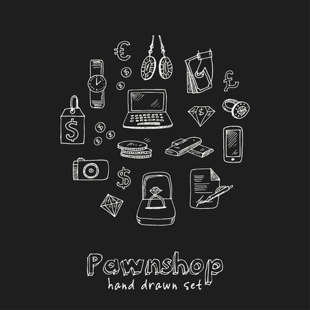 Pawnshop hand drawn doodle set. Sketches vector illustration for design and packages product symbol collection. 일러스트