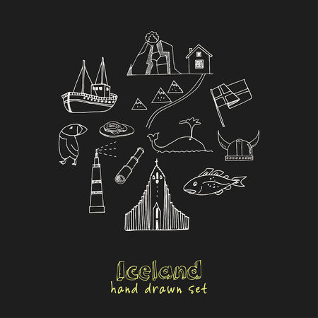 Iceland hand drawn doodle set. Sketches. Vector illustration for design and packages product. Symbol collection.