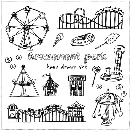 Amusement park hand drawn doodle set. Sketches. Vector illustration for design and packages product. Symbol collection. Ilustração