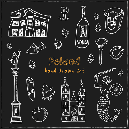 Poland hand drawn doodle set. Sketches. Vector illustration for design and packages product. Symbol collection. Isolated elements on blackboard background.