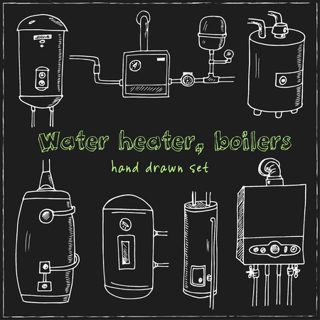 Water heater, boilers hand drawn doodle set. Sketches. Vector illustration for design and packages product. Symbol collection. Isolated elements on blackboard background.