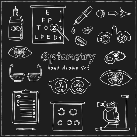 Optometry hand drawn doodle set. Sketches. Vector illustration for design and packages product. Symbol collection. Isolated elements on blackboard background. Illustration