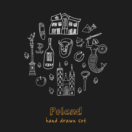 Poland hand drawn doodle set. Sketches. Vector illustration for design and packages product. Symbol collection. Isolated elements on chalkboard background. 向量圖像