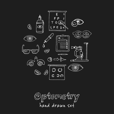 Optometry hand drawn doodle set. Sketches. Vector illustration for design and packages product. Symbol collection. Isolated elements on chalkboard background.