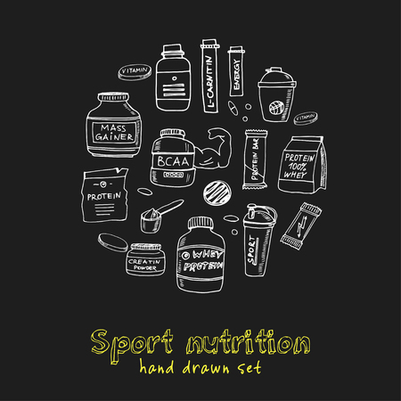 Sport nutrition hand drawn doodle set. Sketches. Vector illustration for design and packages product. Symbol collection. Isolated elements on chalkboard background.