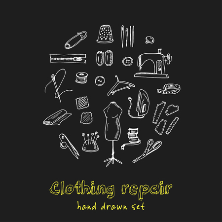 Clothing repair hand drawn doodle set. Sketches. Vector illustration for design and packages product. Symbol collection. Isolated elements on chalkboard background.