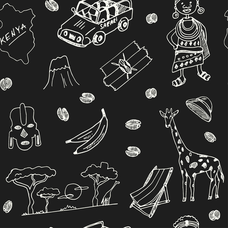 Kenya hand drawn doodle seamless, pattern.. Sketches. Vector illustration for design and packages product. Symbol collection. Vectores