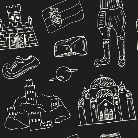 Serbia hand drawn doodle seamless, pattern. Sketches. Vector illustration for design and packages product. Symbol collection.