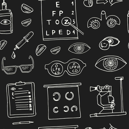 Optometry hand drawn doodle seamless, pattern.Sketches. Vector illustration for design and packages product. Symbol collection.