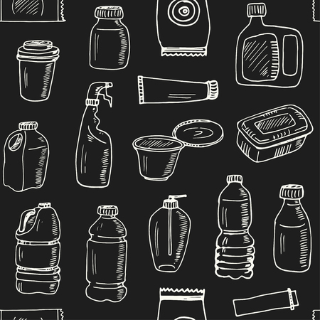 Plastic packaging hand drawn doodle seamless pattern. ketches. Vector illustration for design and packages product. Symbol collection.