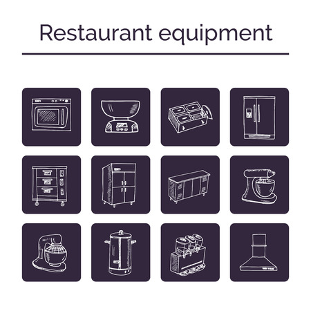 Restaurant equipment hand drawn doodle set. Sketches. Vector illustration for design and packages product. Ilustração