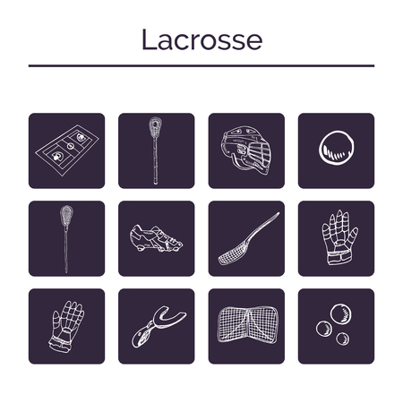 Lacrosse hand drawn doodle set. Sketches. Vector illustration for design and packages product. Illustration