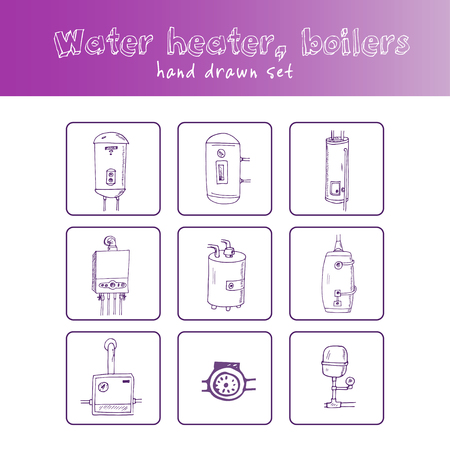 Water Heater, Boilers Hand Drawn Doodle Set. Sketches. Vector ...