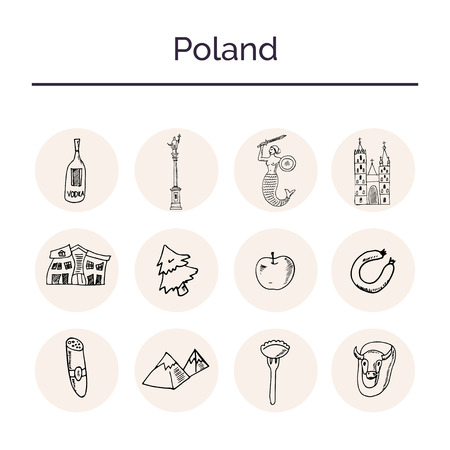 Poland hand drawn doodle set. Sketches. Vector illustration for design and packages product. Symbol collection.
