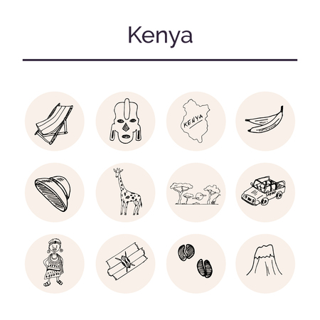 Kenya hand drawn doodle set. Sketches. Vector illustration for design and packages product. Symbol collection.
