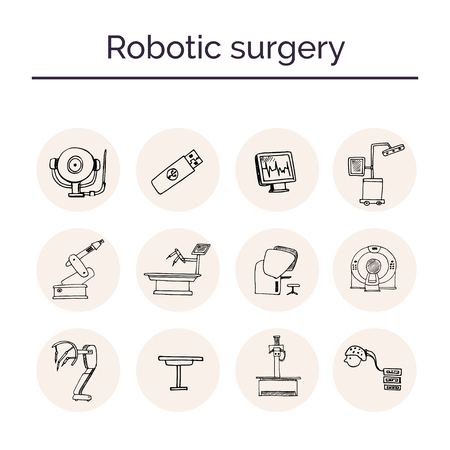 Robotic surgery hand drawn doodle set. Sketches. Vector illustration for design and packages product. Symbol collection. Illustration
