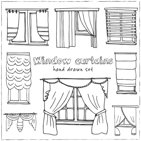 Window curtains hand drawn doodle set. Sketches. Vector illustration for design and packages product. Symbol collection.