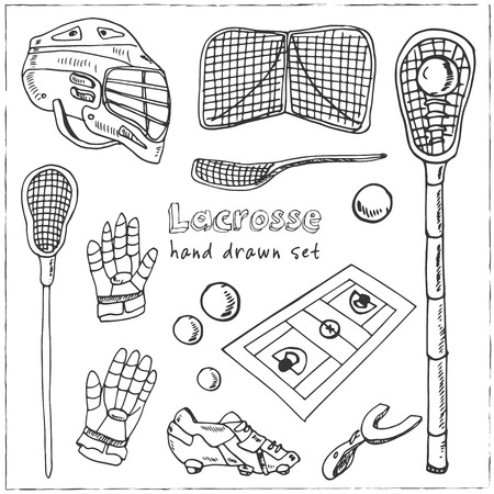 Lacrosse hand drawn doodle set. Sketches. Vector illustration for design and packages product. Symbol collection.