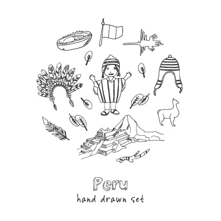 Peru hand drawn doodle set. Sketches. Vector illustration for design and packages product. Symbol collection. Vettoriali