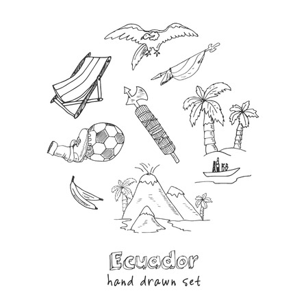 Ecuador hand drawn doodle set. Sketches. Vector illustration for design and packages product. Symbol collection.