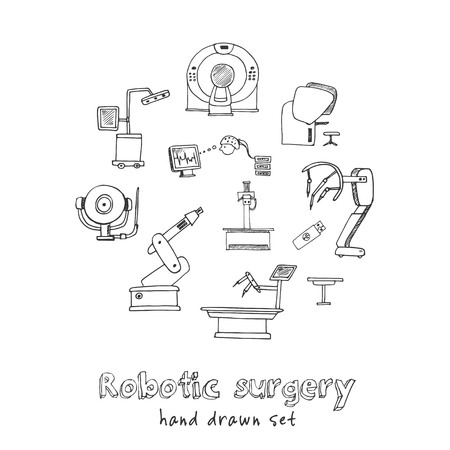 Robotic surgery hand drawn doodle set. Sketches. Vector illustration for design and packages product. Symbol collection. Stock Illustratie