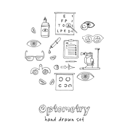 Optometry hand drawn doodle set. Sketches. Vector illustration for design and packages product. Symbol collection.
