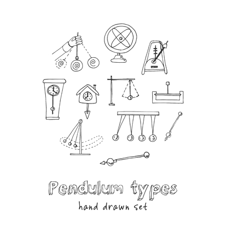 Pendulum type hand drawn doodle set. Sketches. Vector illustration for design and packages product. Symbol collection. Illustration