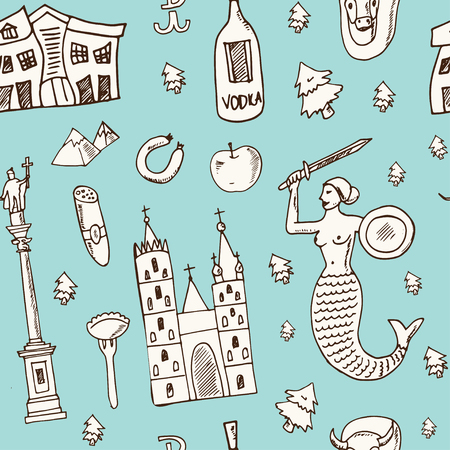 Poland hand drawn doodle seamless pattern. Sketches. Vector illustration for design and packages product. Symbol collection.