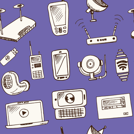 Wireless technology hand drawn doodle seamless pattern. Sketches. Vector illustration for design and packages product. Symbol collection.