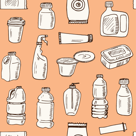 Plastic packaging hand drawn doodle seamless pattern. Sketches. Vector illustration for design and packages product. Symbol collection.