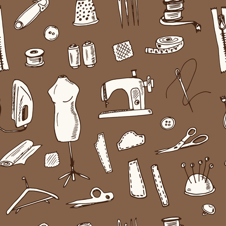 Clothing repair hand drawn doodle seamless pattern. Sketches. Vector illustration for design and packages product. Symbol collection.