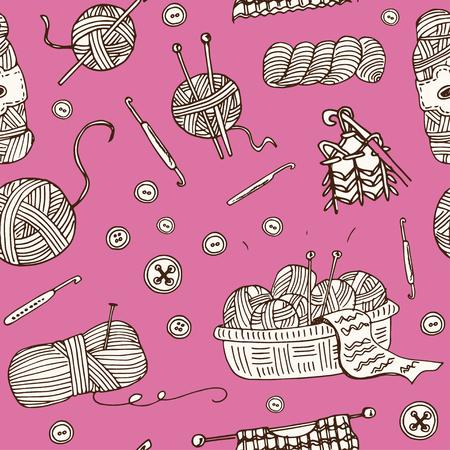 Garen hand getrokken doodle naadloze patroon. Schetsen. Vector illustratie voor ontwerp en pakketten product. Symbool collectie.