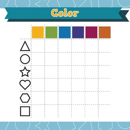 Learn shapes and geometric figures. Color Preschool or kindergarten worksheet. Vector illustration  イラスト・ベクター素材