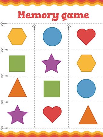 Learn shapes and geometric figures. Preschool or kindergarten worksheet. Vector illustration Banque d'images - 110715767