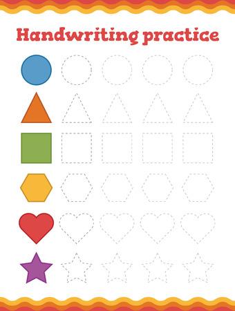 Learn shapes and geometric figures. Preschool or kindergarten worksheet. Vector illustration Ilustração
