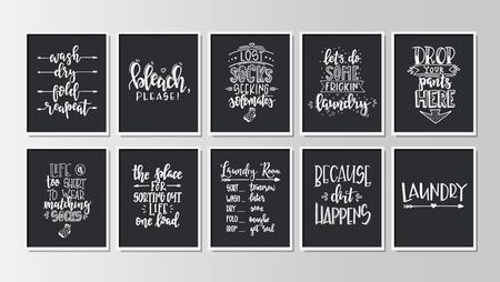Laundry Hand drawn typography poster. Conceptual handwritten phrase Home and Family T shirt hand lettered calligraphic design. Inspirational vector Illustration
