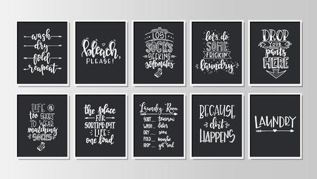 Wäscherei Hand gezeichnetes Typografieplakat. Konzeptionelle handgeschriebene Phrase Home und Family T-Shirt handbeschriftetes kalligraphisches Design. Inspirierender Vektor
