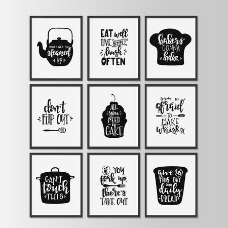 Happy kitchen drawn typography poster. Conceptual handwritten phrase Home and Family T shirt hand lettered calligraphic design. Inspirational vector