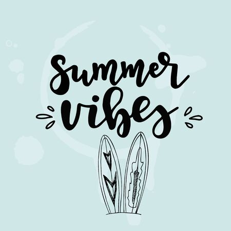 Summer lettering set with holiday Elements Typographic design. Vector illustration.