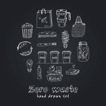Vector Zero Waste  design template set. Hand drawn doodle set. Vector illustration. Isolated elements. Symbol collection.