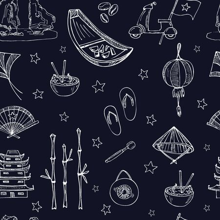 Vietnam hand drawn doodle set. Vector illustration. Isolated elements. Symbol collection. Illustration
