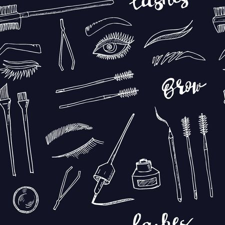 Lash and brow bar hand drawn doodle set. Vector illustration. Isolated elements. Symbol collection. Illustration