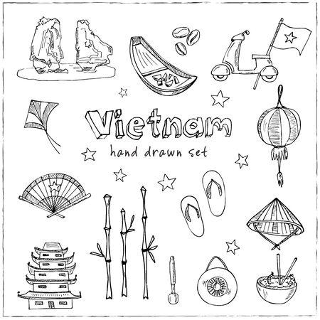 Vietnam hand drawn doodle set. Vector illustration. Isolated elements. Symbol collection. Ilustração
