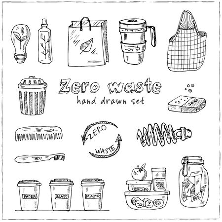 Vector Zero Waste design template set. Hand drawn doodle set. Vector illustration. Isolated elements. Symbol collection. Иллюстрация