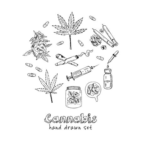 Cannabidiol icon set. Included icons as CBD, Cannabis, treatment, weed, tobacco and more. Hand drawn doodle set. Vector illustration. Isolated elements. Symbol collection.