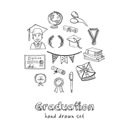 Graduation hand drawn doodle set. Vector illustration. Isolated elements. Symbol collection.