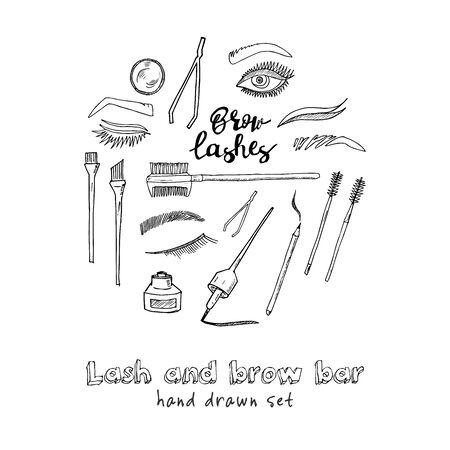 Lash and brow bar hand drawn doodle set. Vector illustration. Isolated elements. Symbol collection. Ilustração